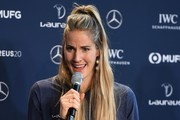Laureus Academy Member Missy Franklin speaks on stage at Laureus Sport For Good Award Presentation at the Mercedes Benz Building prior to the 2020 Laureus World Sports Awards on February 16, 2020 in Berlin, Germany.