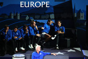 Team Europe watch from the courtside in the singles match between Dominic Thiem of Team Europe and Denis Shapovalov of Team World during Day One of the Laver Cup 2019 at Palexpo on September 20, 2019 in Geneva, Switzerland. The Laver Cup will see six players from the rest of the World competing against their counterparts from Europe. Team World is captained by John McEnroe and Team Europe is captained by Bjorn Borg. The tournament runs from September 20-22.