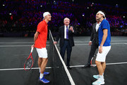 Dominic Thiem of Team Europe, Denis Shapovalov of Team World and Rod Laver take part in the coin toss prior to the start of the first match on Day One of the Laver Cup 2019 at Palexpo on September 20, 2019 in Geneva, Switzerland. The Laver Cup will see six players from the rest of the World competing against their counterparts from Europe. Team World is captained by John McEnroe and Team Europe is captained by Bjorn Borg. The tournament runs from September 20-22.