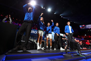 Team Europe celebrate court-side in the singles match between Jack Sock of Team World and Fabio Fognini of Team Europe during Day One of the Laver Cup 2019 at Palexpo on September 20, 2019 in Geneva, Switzerland. The Laver Cup will see six players from the rest of the World competing against their counterparts from Europe. Team World is captained by John McEnroe and Team Europe is captained by Bjorn Borg. The tournament runs from September 20-22.