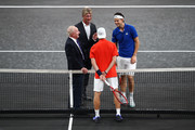 Dominic Thiem of Team Europe, Denis Shapovalov of Team World and Rod Laver during the coin toss prior to the start of the first match on Day One of the Laver Cup 2019 at Palexpo on September 20, 2019 in Geneva, Switzerland. The Laver Cup will see six players from the rest of the World competing against their counterparts from Europe. Team World is captained by John McEnroe and Team Europe is captained by Bjorn Borg. The tournament runs from September 20-22.