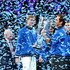 Roger Federer of Team Europe lifts the Laver Cup trophy after winning the Laver Cup in the final match of the tournament during Day Three of the Laver Cup 2019 at Palexpo on September 22, 2019 in Geneva, Switzerland. The Laver Cup will see six players from the rest of the World competing against their counterparts from Europe. Team World is captained by John McEnroe and Team Europe is captained by Bjorn Borg. The tournament runs from September 20-22.