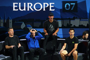 Thomas Enqvist, Roberto Bautista Agut, Rafael Nadal and Fabio Fognini of Team Europe react in the doubles match between Stefanos Tsitsipas, playing partner of Roger Federer of Team Europe and Jack Sock, playing partner of John Isner of Team World during Day Three of the Laver Cup 2019 at Palexpo on September 22, 2019 in Geneva, Switzerland. The Laver Cup will see six players from the rest of the World competing against their counterparts from Europe. Team World is captained by John McEnroe and Team Europe is captained by Bjorn Borg. The tournament runs from September 20-22.