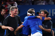 Roger Federer of Team Europe celebrates victory with teammates after his singles match against John Isner of Team World during Day Three of the Laver Cup 2019 at Palexpo on September 22, 2019 in Geneva, Switzerland. The Laver Cup will see six players from the rest of the World competing against their counterparts from Europe. Team World is captained by John McEnroe and Team Europe is captained by Bjorn Borg. The tournament runs from September 20-22.