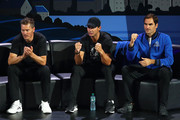 Thomas Enqvist, Rafael Nadal and Roger Federer of Team Europe celebrate in the singles match between Dominic Thiem of Team Europe and Taylor Fritz of Team World during Day Three of the Laver Cup 2019 at Palexpo on September 22, 2019 in Geneva, Switzerland. The Laver Cup will see six players from the rest of the World competing against their counterparts from Europe. Team World is captained by John McEnroe and Team Europe is captained by Bjorn Borg. The tournament runs from September 20-22.