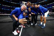 Team Europe take a selfie with the trophy after their Men's Singles match on day three after winning the 2018 Laver Cup at the United Center on September 23, 2018 in Chicago, Illinois.