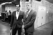 Editors Note: Image was converted to Black and White  Roger Federer and Kyle Edmund of Team Europe wait backstage to be unveiled at the official welcome ceremony prior to the Laver Cup at the United Center on September 19, 2018 in Chicago, Illinois.The Laver Cup consists of six players from the rest of the World competing against their counterparts from Europe.John McEnroe will captain the Rest of the World team and Europe will be captained by Bjorn Borg. The event runs from 21-23 Sept.