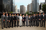 L-R Team Europe and Team Rest of the World Alexander Zverev,Kyle Edmund,Grigor Dimitrov,David Goffin, Novak Djokovic,Roger Federer, team captain Bjorn Borg, Rod Laver, Rest of the World team captain John McEnroe, Diego Schwartzman, Frances Tiafoe, Jack Sock, Nick Kyrgios, Kevin Anderson and John Isner pose for their official team photo shoot prior to the Laver Cup at the United Center on September 19, 2018 in Chicago, Illinois.The Laver Cup consists of six players from the rest of the World competing against their counterparts from Europe.John McEnroe will captain the Rest of the World team and Europe will be captained by Bjorn Borg. The event runs from 21-23 Sept.