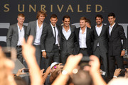 Members of Team Europe Kyle Edmund, Alexander Zverev, Grigor Dimitrov, Roger Federer, David Goffin, Jeremy Chardy and Novak Djokovic pose for fans during the Team Ceremony on September 19, 2018 in Chicago, Illinois. The Laver Cup consists of six players from the Rest of the World competing against their counterparts from Team Europe.  John McEnroe will captain the Rest of the World Team and Team Europe will be captained by Bjorn Borg.  The event runs from Sept.21-23.