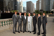 L-R Team Europe Alexander Zverev,Kyle Edmund,Roger Federer, team captain Bjorn Borg, Novak Djokovic,David Goffin and Grigor Dimitrov pose for their official team photo shoot prior to the Laver Cup at the United Center on September 19, 2018 in Chicago, Illinois.The Laver Cup consists of six players from the rest of the World competing against their counterparts from Europe.John McEnroe will captain the Rest of the World team and Europe will be captained by Bjorn Borg. The event runs from 21-23 Sept.