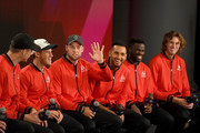 Team World John Isner, Diego Schwartzman, Jack Sock, Nick Kyrgios, Frances Tiafoe, and Nicolas Jarry speak during a press conference prior to the Laver Cup at the United Center on September 20, 2018 in Chicago, Illinois. The Laver Cup consists of six players from Team World competing against their counterparts from Team Europe. John McEnroe will captain Team World and Team Europe will be captained by Bjorn Borg. The event runs from 21-23 Sept.