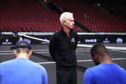 Team World Captain John McEnroe of the United States talks with Team World John Isner of the United States and Team World Frances Tiafoe of the United States during practice prior to the Laver Cup at the United Center on September 20, 2018 in Chicago, Illinois. The Laver Cup consists of six players from Team World competing against their counterparts from Team Europe. John McEnroe will captain Team World and Team Europe will be captained by Bjorn Borg. The event runs from 21-23 Sept.