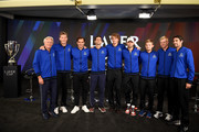 (L-R) Team Europe Captain Bjorn Borg, Vice Captain Thomas Enqvist pose with team members, Roger Federer, Novak Djokovic, Alexander Zverev, Grigor Dimitrov, David Goffin, Kyle Edmund, and Jeremy Chardy prior to the Laver Cup at the United Center on September 20, 2018 in Chicago, Illinois. The Laver Cup consists of six players from Team World competing against their counterparts from Team Europe. John McEnroe will captain Team World and Team Europe will be captained by Bjorn Borg. The event runs from 21-23 Sept.