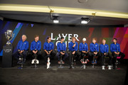 (L-R) Team Europe Captain Bjorn Borg, Vice Captain Thomas Enqvist, team members, Roger Federer, Novak Djokovic, Alexander Zverev, Grigor Dimitrov, David Goffin, Kyle Edmund, and Jeremy Chardy speak during a press conference prior to the Laver Cup at the United Center on September 20, 2018 in Chicago, Illinois. The Laver Cup consists of six players from Team World competing against their counterparts from Team Europe. John McEnroe will captain Team World and Team Europe will be captained by Bjorn Borg. The event runs from 21-23 Sept.