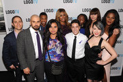 """(L-R) Stephen Friedman, Chris McCarthy, Kye Allums, Zoey Luna, Laverne Cox, Shane Henise, Daniella Carter, Jess Liberatore; Avery Grey and L'lerrét Ailith attend """"Laverne Cox Presents: The T Word"""" Logo TV Premiere Party & Screening at Paramount Screening Room at the Viacom Building on October 16, 2014 in New York City."""