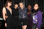 """(L-R) Avery Grey, Jackie Cruz, Taylor Schilling, Danielle Brooks and Zoey Luna attend """"Laverne Cox Presents: The T Word"""" Logo TV Premiere Party & Screening at Paramount Screening Room at the Viacom Building on October 16, 2014 in New York City."""