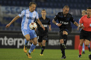 Lucas Leiva of SS Lazio compete for the ball with Wesley  Sneijder of OGC Nice during the UEFA Europa League group K match between Lazio Roma and OGC Nice at Stadio Olimpico on November 2, 2017 in Rome, Italy.