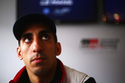 The Toyota Gazoo Racing TS050 Hybrid driver Sebastien Buemi is interviewed by the media prior to practice for the Le Mans 24 Hour race at the Circuit de la Sarthe on June 13, 2018 in Le Mans, France.