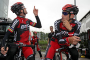 (L-R) Defending champion Cadel Evans of Australia riding for BMC Racing chats with teammate George Hincapie of the USA before commencing a training ride in preparation for the 2012 Tour de France on June 29, 2012 in Liege, Belgium.