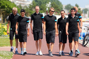 SKY Procycling riders (l to r) Kanstanstin Siutsou, Peter Kennaugh, race leader Chris Froome, Edvald Boasson-Hagen, Richie Porte, David Lopez and Ian Stannard walk to the team press conference at the Hermitage Hotel during the first rest day of the 2013 Tour de France, on July 8, 2013 in La Baule-Escoublac, France.