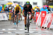 Alejandro Valverde Belmonte of Spain and Movistar Team crosses the finish line ahead of Chris Froome of Great Britain and Team Sky during stage twelve of the 2015 Tour de France, a 195 km stage between Lannemezan and Plateau de Beille, on July 16, 2015 in Plateau de Beille, France.