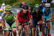 Alberto Contador of Spain and Tinkoff-Saxo, Tejay van Garderen of the United States and BMC Racing Team, Alejandro Valverde Belmonte of Spain and Movistar Team and Vincenzo Nibali of Italy and Astana Pro Team ride during stage twelve of the 2015 Tour de France, a 195 km stage between Lannemezan and Plateau de Beille, on July 16, 2015 in Plateau de Beille, France.