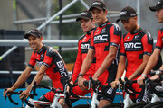 Richie Porte (L) of Australia and team leader of BMC Racing Team looks on during the team presentations on June 30, 2016 in Sainte-Mere-Eglise, France.