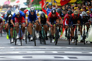 The race for the line between Marcel Kittel of Germany and Quick-Step Floors, Arnaud Demare of France and FDJ, Andre Greipel of Germany and Lotto Soudal and Mark Cavendish of Great Britain and Team Dimension Data during stage two of the 2017 Tour de France, a 203.5km road stage from Dusseldorf to Liege on July 2, 2017 in Liege, Belgium.
