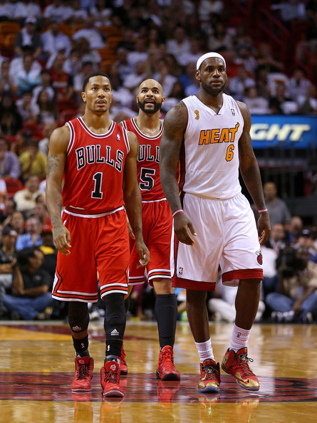 1419dd657159 LeBron James and Derrick Rose Photos»Photostream · Pictures · Chicago Bulls  v Miami Heat