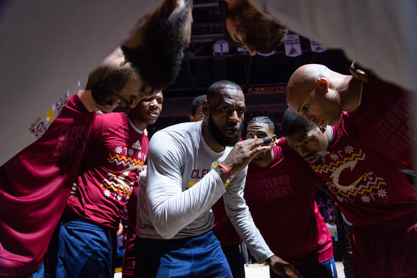 Golden State Warriors v Cleveland Cavaliers [event,performance,tradition,ceremony,music,performing arts,lebron james,teammates,user,user,note,huddle,cleveland cavaliers,golden state warriors,game,player introductions]