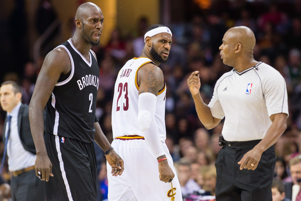 Brooklyn Nets v Cleveland Cavaliers [photograph,basketball player,sports,basketball,team sport,championship,player,basketball moves,ball game,tournament,basketball court,sean wright,kevin garnett 2,user,lebron james,note,cleveland,cleveland cavaliers,brooklyn nets,half]