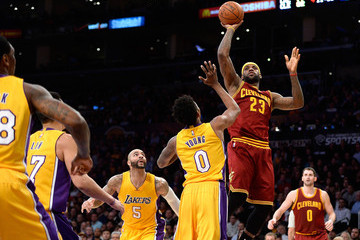 LeBron James Nick Young Cleveland Cavaliers v Los Angeles Lakers