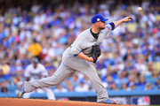 Jon Lester #34 of the Chicago Cubs throws a pitch in the first inning against the Los Angeles Dodgers during game two of the National League Championship Series at Dodger Stadium on October 15, 2017 in Los Angeles, California.
