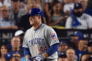Anthony Rizzo #44 of the Chicago Cubs reacts after being hit by a pitch in the ninth inning against the Los Angeles Dodgers during game two of the National League Championship Series at Dodger Stadium on October 15, 2017 in Los Angeles, California.