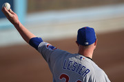 Jon Lester #34 of the Chicago Cubs warms up before game two of the National League Championship Series against the Los Angeles Dodgers at Dodger Stadium on October 15, 2017 in Los Angeles, California.