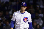 Anthony Rizzo #44 of the Chicago Cubs walks back to the dugout after striking out in the eighth inning against the Los Angeles Dodgers during game three of the National League Championship Series at Wrigley Field on October 17, 2017 in Chicago, Illinois.