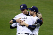Ryan Braun #8, Lorenzo Cain #6 and Christian Yelich #22 of the Milwaukee Brewers celebrate after defeating the Los Angeles Dodgers in Game Six of the National League Championship Series at Miller Park on October 19, 2018 in Milwaukee, Wisconsin.