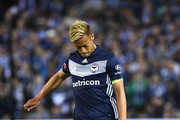 Keisuke Honda of the Victory kicks during the round one A-League match between Melbourne Victory and Melbourne City at Marvel Stadium on October 20, 2018 in Melbourne, Australia.