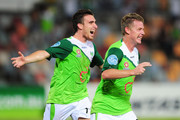 Ufuk Talay (R) of the Fury celebrates his goal with Ramazan Tavsancioglu  during the round 18 A-League match between the North Queensland Fury and Sydney FC at Dairy Farmers Stadium on December 15, 2010 in Townsville, Australia.
