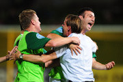 Ufuk Talay (L) of the Fury celebrates his goal with Ramazan Tavsancioglu and coach Frantisek Straka during the round 18 A-League match between the North Queensland Fury and Sydney FC at Dairy Farmers Stadium on December 15, 2010 in Townsville, Australia.