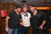 Tyler Reeve, Drake White and Lee Brice are seen backstage at Analog at the Hutton Hotel on October 1, 2018 in Nashville, Tennessee.
