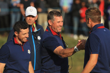 Lee Westwood Rory McIlroy 2018 Ryder Cup - Afternoon Foursome Matches