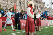"""Diego Forlan is being greeted during the Legends Football Match in """"The park of Soccer and rest"""" at Red Square on July 11, 2018 in Moscow, Russia."""