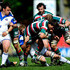 Ben Youngs Photos - Ben Youngs of Leicester Tigers is tackled by Butch James of Bath during the Guinness Premiership Semi Final match between Leicester Tigers and Bath at Welford Road on May 16, 2010 in Northampton, England. - Leicester Tigers v Bath - Guinness Premiership Semi Final