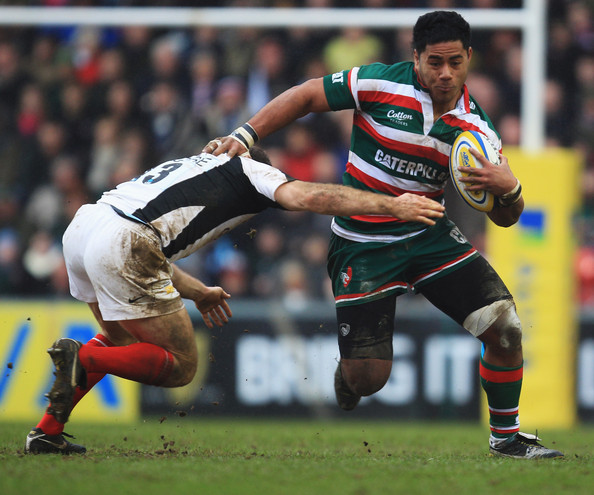 Leicester Centre Manu Tuilagi Is Tackled: Leicester Tigers V Saracens