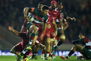 Ben Youngs of Leicester Tigers breaks with the ball during the Champions Cup match between Leicester Tigers and Scarlets at Welford Road Stadium on October 19, 2018 in Leicester, United Kingdom.