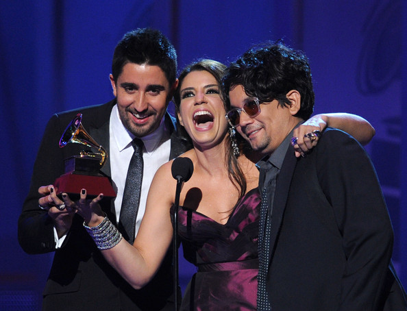 The 12th Annual Latin GRAMMY Awards - Show [best pop album,performance,event,music artist,singing,talent show,singer,song,duet,performing arts,music,alex jorge y lena,singers,winners,alex ubago,jorge villamizar,lena burke,a duo/group with vocals award,latin grammy awards,show]