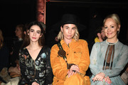 Marla Blumenblatt, Karin Teigl and Kathrin Gelinsky attend the Lena Hoschek show during Berlin Fashion Week Autumn/Winter 2020 at Kraftwerk Mitte on January 15, 2020 in Berlin, Germany.