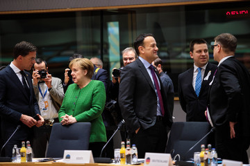 Leo Varadkar British Prime Minister Attends The European Council