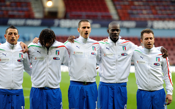 Leonardo Bonucci Angelo Palombo, Amauri, Leonardo Bonucci, Mario Balotelli and Antonio Cassano of Italy in action during the international friendly match between Italy and Ivory Coast at The Boleyn Ground on August 10, 2010 in London, England.
